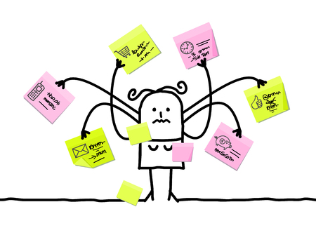 Cartoon Woman Multitasking with Sticky Notes