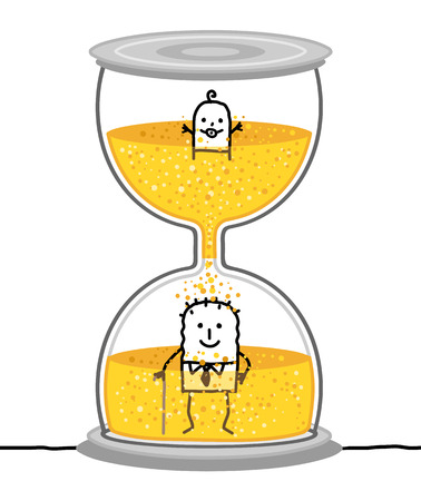 Cartoon Baby and Senior in a Big Hourglass