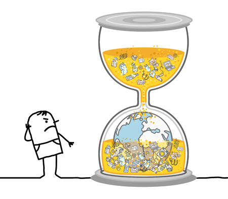 Cartoon Man Watching a Polluted Earth in Hourglass