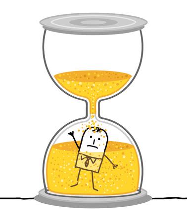 Cartoon zakenman in een grote zandloper Vector Illustratie