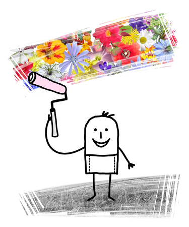 Cartoon Man Painting Spring Flowers after Winter