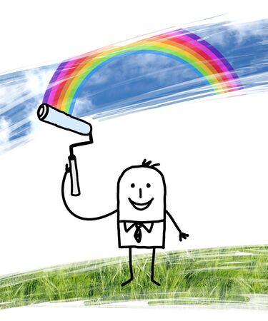 Cartoon Man Painting Blue Sky with Rainbow