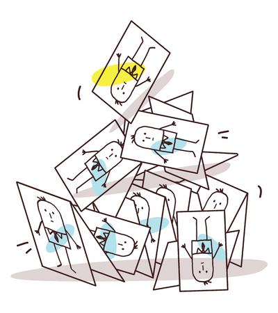 Cartoon Collapsing Business Cards Pyramid Vector illustration. 矢量图像