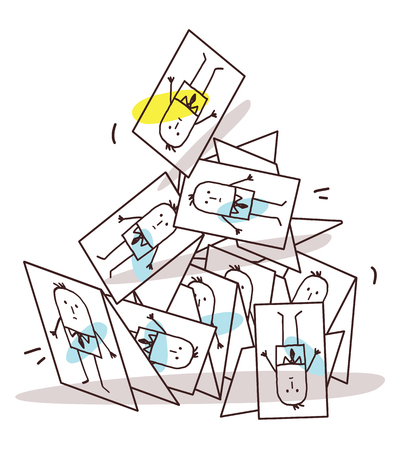 Cartoon Collapsing Business Cards Pyramid Vector illustration. Vettoriali
