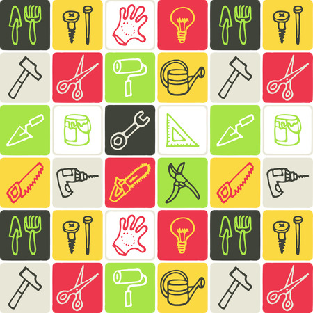 Hand Drawn Icons Set of various tools in outline Illustration.
