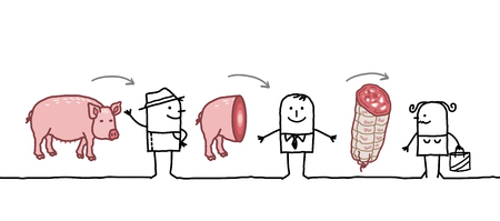 Cartoon Characters - Pork Production Chain