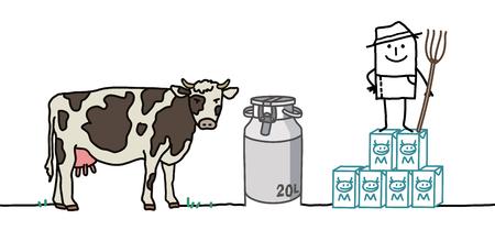Granjero de dibujos animados con vaca y leche