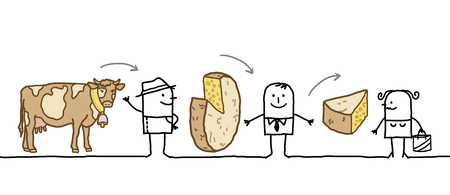 Cartoon Characters - Cheese Production Chain