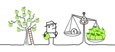 Cartoon Farmer and Low Price Apples Production