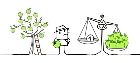 Cartoon boer en lage prijs appels productie