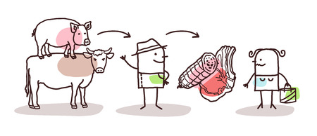 Cartoon Farmer Meat Production and Direct Consumer Vettoriali