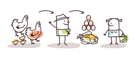Cartoon Farmer Chickens Production and Direct Consumer
