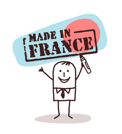 Cartoon man with french product vector illustration.