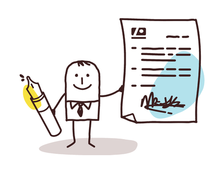 Cartoon man signing a contract vector illustration. 向量圖像