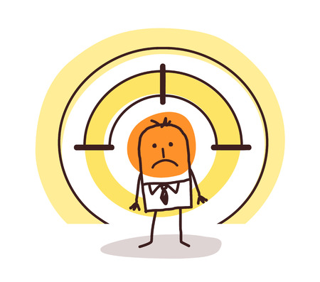 Cartoon man in a target vector illustration design.