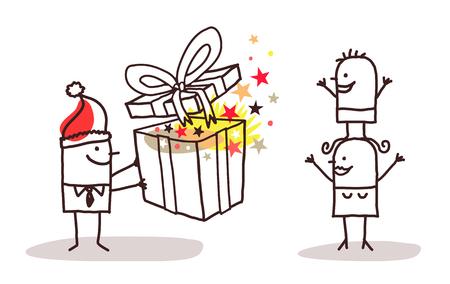 Cartoon Santa man offering gift to his family illustration. Vettoriali