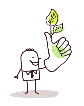 Cartoon man with green leaves on finger illustration. 矢量图像