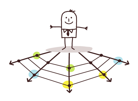 Cartoon man with web directions vector illustration.