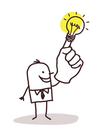 Cartoon man with light bulb on his finger illustration. Illustration
