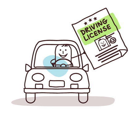 Cartoon man in car with driving license illustration.