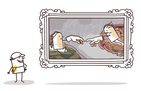 Cartoon man watching a famous painting vector illustration. Illustration