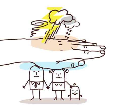 Protecting Big Hand - Cartoon Family and Stormy Weather Illustration