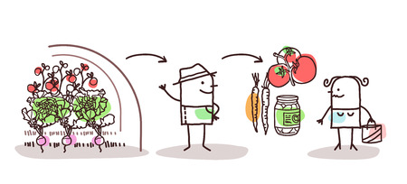 Cartoon Farmer Vegetables Production and Direct Consumer  イラスト・ベクター素材