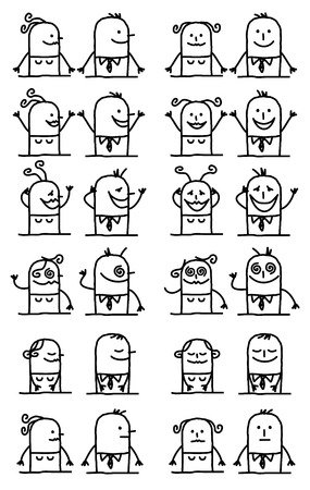 Cartoon Characters Set - Happy and Funny Faces