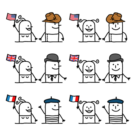 Cartoon Characters Set 1 - Countries and Tradition Illustration