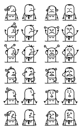 Cartoon Characters Set - Unhappy and Sad Faces Illustration