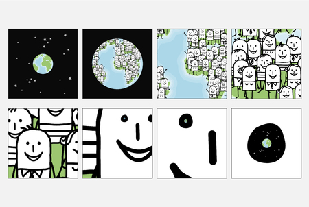 Cartoon Infinite Loop and Zoom on Human in the Universe