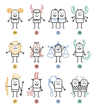 Twelve Zodiac Cartoon Characters Signs