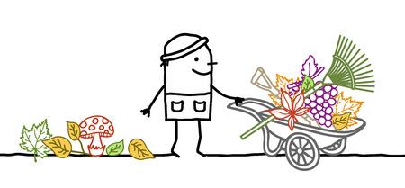 Cartoon Fall Gardener with Wheelbarrow, Leaves and Tools Ilustração Vetorial