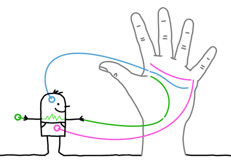 Big Hand with Cartoon Character - Heart, Head and Life Lines Illustration