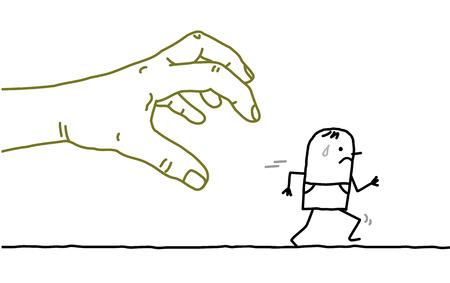 Große Hand mit Zeichentrickfigur - Fangen und Laufen Vektorgrafik
