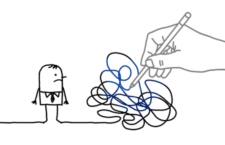 Big Drawing Hand with Cartoon Man - Tangled Path Banque d'images