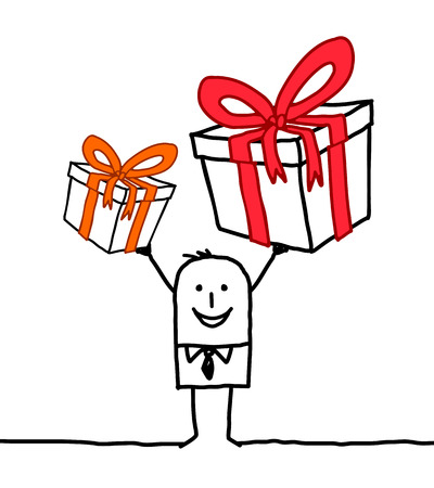 Cartoon Smiling Man with two Big Gifts Çizim