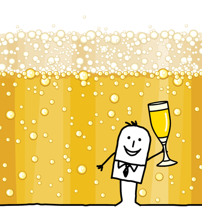 Cartoon Man Drinking Champagne and Bubbles Background