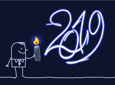 Cartoon Man with Burning  Candle and 2019 Glowing Sign