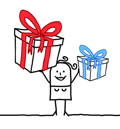 Cartoon Smiling Woman with two Big Gifts