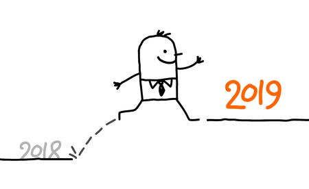 Cartoon Businessman Jumping to 2019 Year
