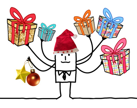 Cartoon Man with Multi Gifts and Santa red Hat