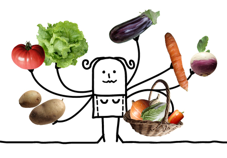 Cartoon Woman with Multi Vegetables Picking