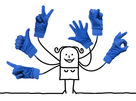 Cartoon Woman with Multi Blue Hands Signs