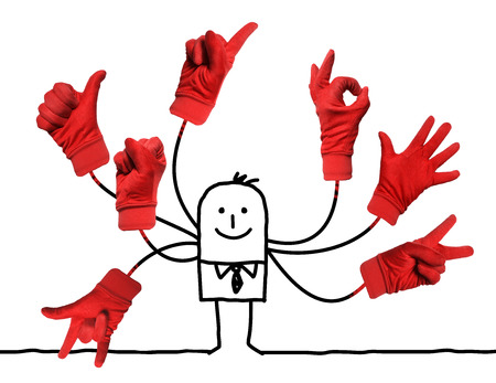 Cartoon Businessman with Multi  Red Hands Signs