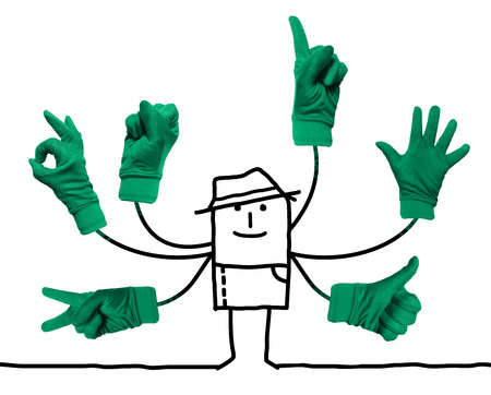Cartoon Gardener with Multi  Green Hands Signs Stok Fotoğraf - 115664718