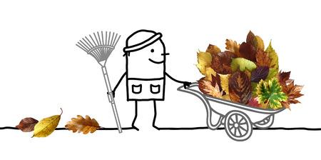 Cartoon Man with big Pile of Autumn Leaves in Wheelbarrow Stok Fotoğraf - 115664721