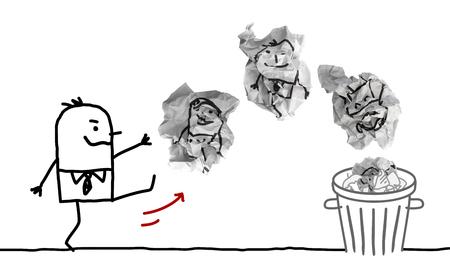 Cartoon Man Throwing Paper Dumplings with People in Trash Bin