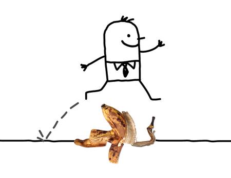 Cartoon Man jumping Over a Banana Peel Stock Photo