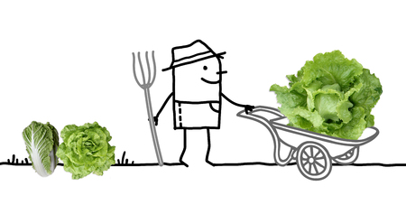 Cartoon Farmer in Garden and Big Salad in Wheelbarrow Stok Fotoğraf - 115664730